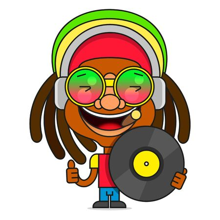 Man With Dreadlocks Hairstyle For Rastafarian And Reggae Theme Vector Illustration Suitable For Greeting Card, Poster Or T-shirt Printing.