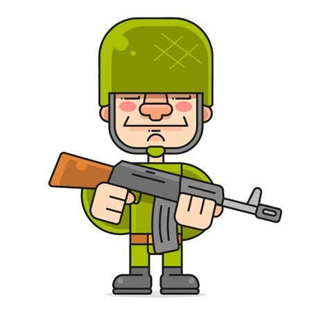Special Forces In A Hard Hat. Vector Character On A White Background Illustration