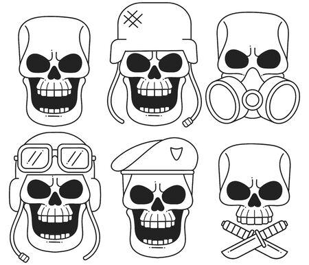Set Of Vintage Skull Design Elements. Monochrome Style. Vector Icon For Web Design Isolated On White Background Ilustração