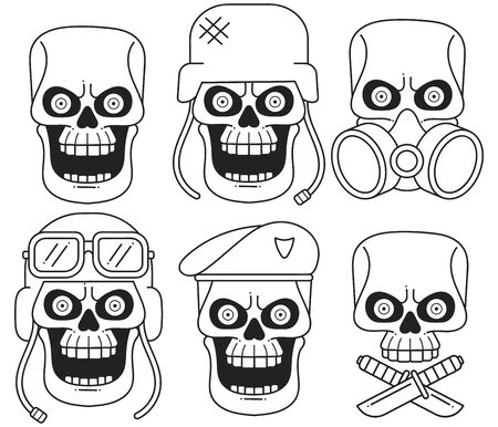 Set Of Different Skull Charactres With Different Modern Street Style City Attributes. Monochrome Style. Isolated On White Background