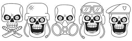 Anatomically Correct Human Skulls Set Isolated. Hand Drawn Line Art Vector Illustration.