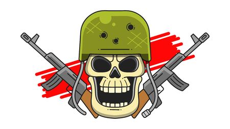 Military Skull In A Hard Hat With Machine Guns On A White Background Typography Illustration, Can Be Used As A Print For T'shirts, Bags, Cards And Posters. Ilustração
