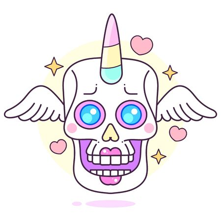 Cartoon Spooky Undead Unicorn Portrait Vector Illustration Suitable For Greeting Card, Poster Or T-shirt Printing.