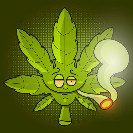 Medical Cannabis Oil Icon Design With A Marijuana Leaf And A Drop Of Hemp Oil. Oil Extract Of Cannabis. Product Label Icon And Graphic   Template. Isolated Vector Illustrations On A Green Background. Çizim