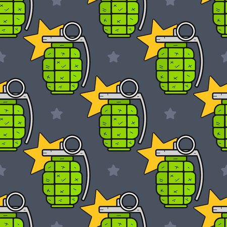 Seamless Green Hand Grenade Pattern On A Green Background. Illustration