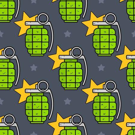 Seamless Green Hand Grenade Pattern On A Green Background. Çizim