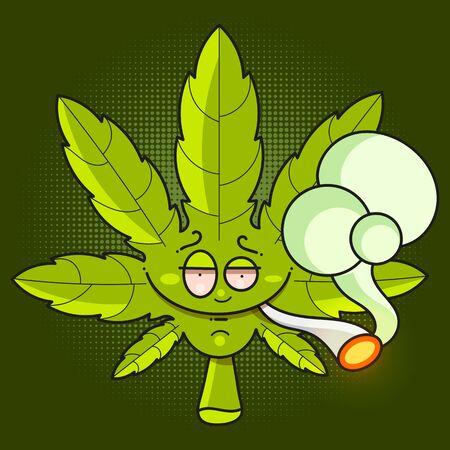 Cannabis leaf icon - Vector Green Cannabis Leaf , Marijuana Leaf Vector Icon Çizim