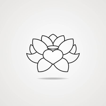 Vector Black Lotus Icon On Grey Background Can Be Used For Greeting Cards, Postcards, Art, Wallpaper, Web Pages, Surface Textures, Clothing, Prints, Tapestries Çizim