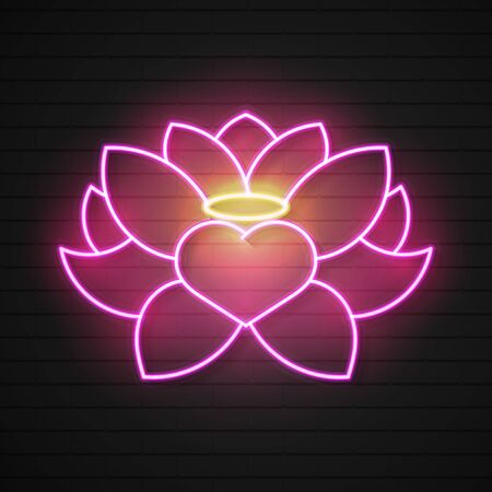 Pink Lotus Neon Sign. Harmony And Meditation Concept. Advertisement Design. Night Bright Neon Sign, Colorful Billboard, Light Banner. Vector In Neon Style. Çizim
