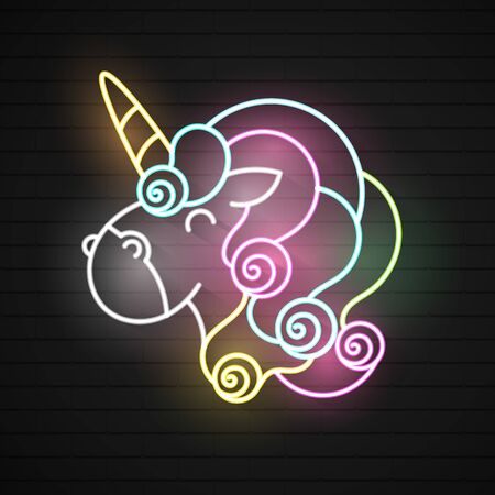 Vector realistic isolated neon retro sign of unicorn for decoration and covering on the wall background. Pink funny unicorn pukes liquid rainbow. Vector illustration.