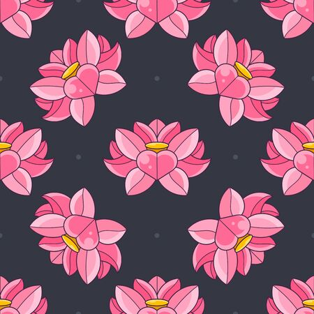 Background Of The Lotus. Flower Pattern With Water Lilies. Seamless Background Can Be Used For Greeting Cards, Postcards, Art, Wallpaper, Web Pages, Surface Textures, Clothing, Prints, Tapestries