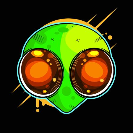 Alien Face With Large Eyes. Extraterrestrial Humanoid Head Vector Illustration. Çizim