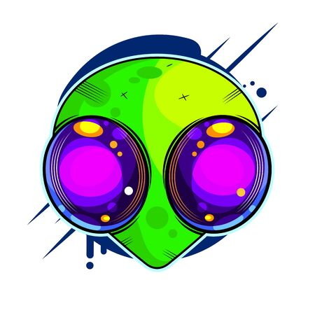 Alien Hand Drawn Vector Illustration. Martian Showing Peace Sign Closeup. Extraterrestrial Invasion Concept.