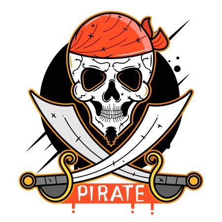 Pirate Skull Vector Icon Suitable For Greeting Card, Poster Or T-shirt Printing.