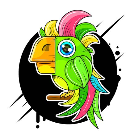 Cartoon Cute Parrot Vector Icon Suitable For Greeting Card, Poster Or T-shirt Printing.