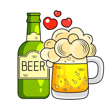 Glass Of Beer And Bottle Flat Icon. Vector Illustration Suitable For Greeting Card, Poster Or T-shirt Printing. Çizim