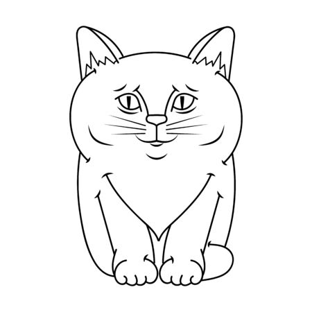 Vector happy cute fun kitten cartoon smiling character cat line art coloring book black and white drawing illustration