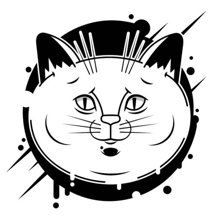 Black head of Cat background. Vector illustration. Cute icon. Animal silhouette. Illustration