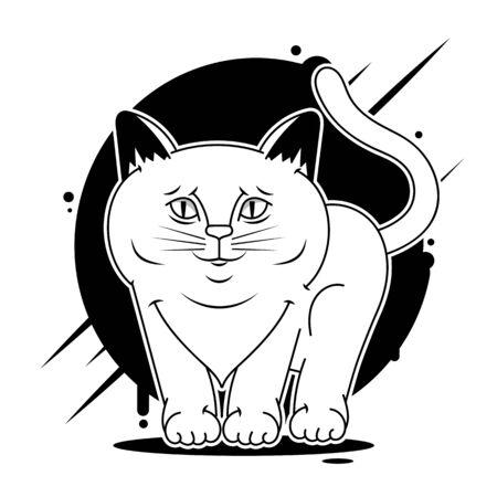 Cat face design vector on white background, pet. Animals. Çizim