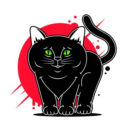 Vector Cartoon Black Cat Vector Illustration Suitable For Greeting Card, Poster Or T-shirt Printing. Çizim