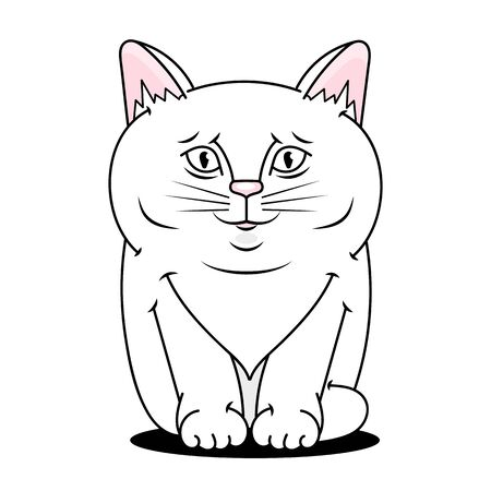 Hand Drawn Cat Looking . Cute Cartoon Character. Kawaii Animal. Love Greeting Card. Flat Design Style. White Background. Isolated. Vector