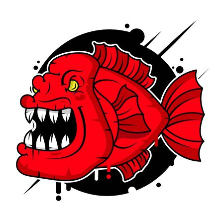 Piranha  Vector Illustration Suitable For Greeting Card, Poster Or T-shirt Printing. Çizim
