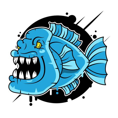 Pirana fish character Vector Illustration Suitable For Greeting Card, Poster Or T-shirt Printing.