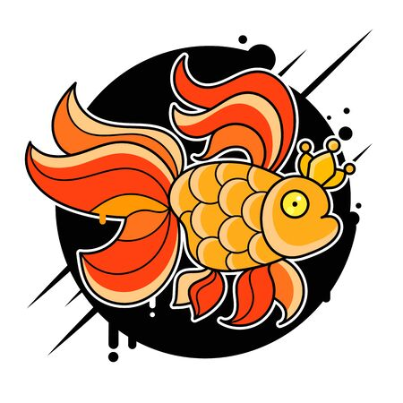 Gold Fish  Vector Illustration Suitable For Greeting Card, Poster Or T-shirt Printing.