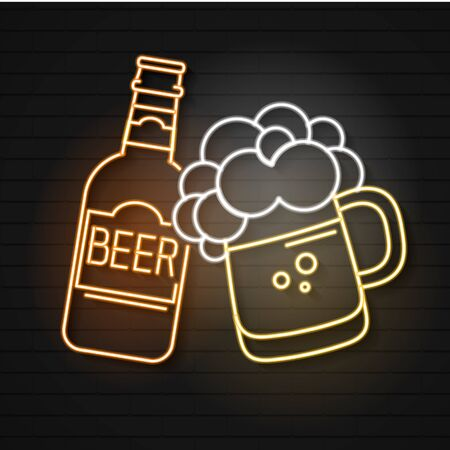 Beer Bar Neon Sign Vector Illustration Suitable For Greeting Card, Poster Or T-shirt Printing.