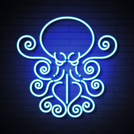 Octopus Blue Glowing Neon Ui Ux Icon. Luminous Sign  Vector Illustration