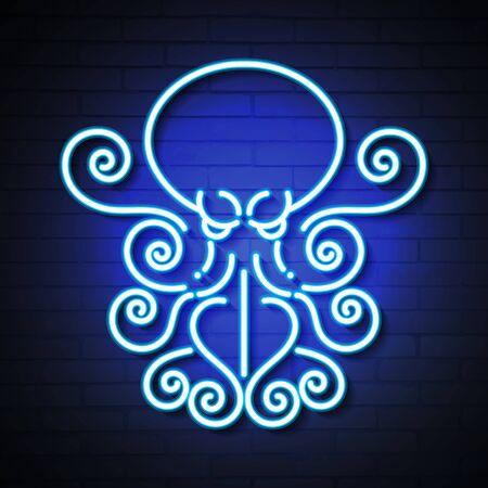 Octopus Blue Glowing Neon Ui Ux Icon. Luminous Sign  Vector Çizim