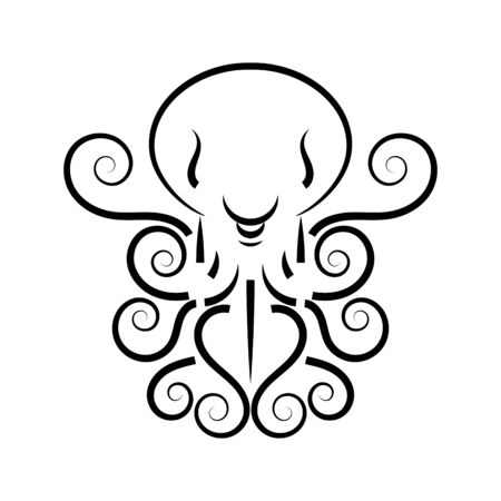 Stylized Silhouette Of An Octopus On White Background.  Design For Company. Vector Illustration Suitable For Greeting Card, Poster Or T-shirt Printing.