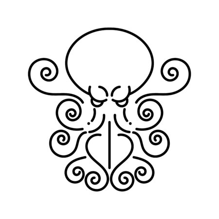 Octopus - Hand Drawn Sea Monster On White Background.  Design For Company.