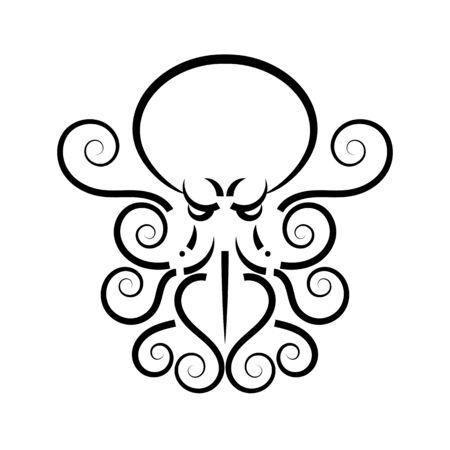 Octopus. Vector black engraving vintage illustrations. Isolated on white background. Çizim