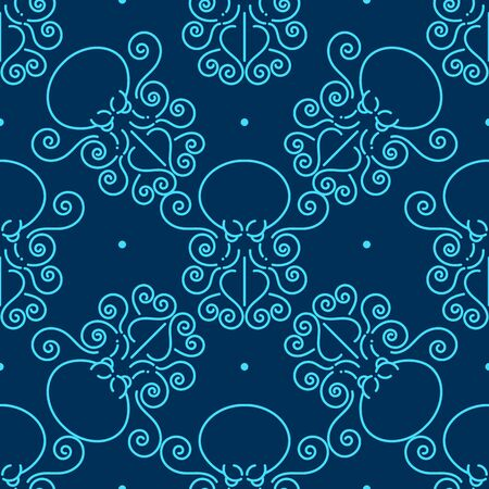 Abstract Seamless Pattern With Octopuses. Illustration Can Be Copied Without Any Seams. Vector . Original Background Good For Cards, Posters, Web Design, Textile Print, Banners Etc. Sea. Ocean.