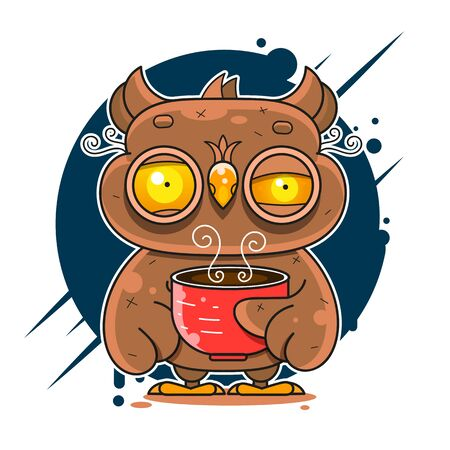 Owl Drinking Coffee And Can't Sleep Vector Flat Style Illustration Suitable For Greeting Card, Poster Or T-shirt Printing. Çizim