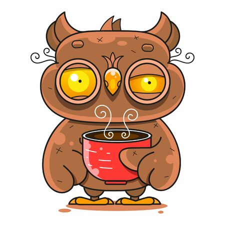 Owl And Coffee Vector Illustration Suitable For Greeting Card, Poster Or T-shirt Printing.