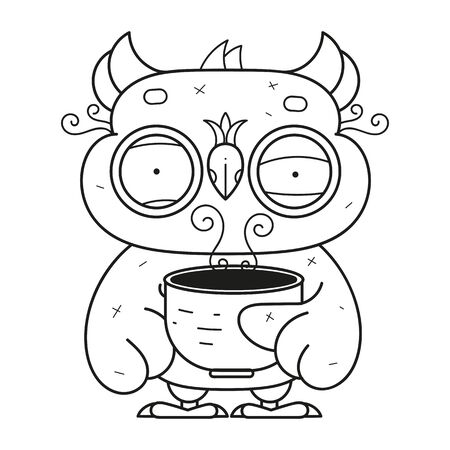 illustration of Cartoon owl - Coloring book Vector Illustration Suitable For Greeting Card, Poster Or T-shirt Printing.