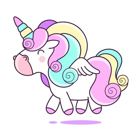 Funny Pink Unicorn on a White Background. Vector Illustration with Fantasy Ponny for Use in Design and Postcards.