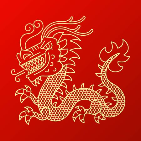 Vector background with asia dragons. Hand drawn illustration. Sketch. Çizim