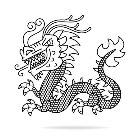Vector of Chinese Ancient Dragon Vector Illustration Suitable For Greeting Card, Poster Or T-shirt Printing. Çizim
