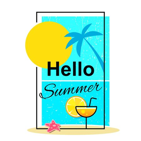 Hello Summer . Summer Time   Templates. Isolated Typographic Design Label. Summer Holidays Lettering For Invitation, Greeting Card, Prints And Posters. Enjoy The Beach Party Çizim