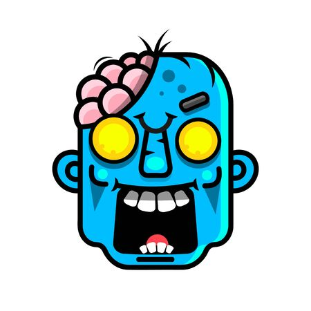 Vector illustration of Cartoon Zombie head Suitable For Greeting Card, Poster Or T-shirt Printing. Çizim