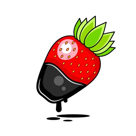 Chocolate Dipped Strawberry - Vector Illustration Suitable For Greeting Card, Poster Or T-shirt Printing. Illustration