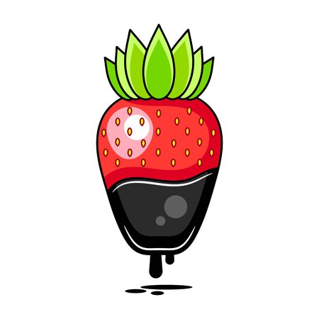Chocolate Dipped Strawberry - Vector Illustration Suitable For Greeting Card, Poster Or T-shirt Printing. Çizim