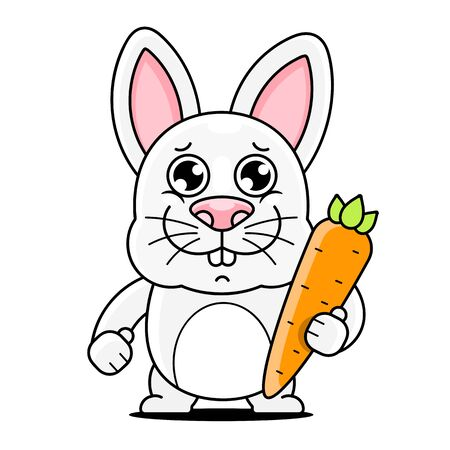 Cartoon Cute Rabbit Posing Vector Illustration Suitable For Greeting Card, Poster Or T-shirt Printing. Illustration
