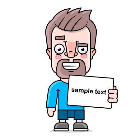 Hipster holding a sign sample text vector illustration Çizim