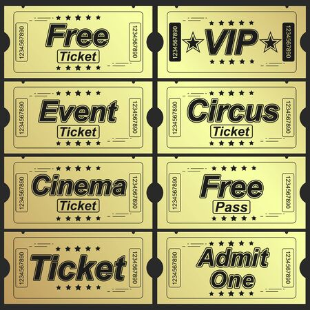 Set of eleven golden vector tickets and coupons templates. Vector file is organized in layers to separate Graphic elements from texture and text.