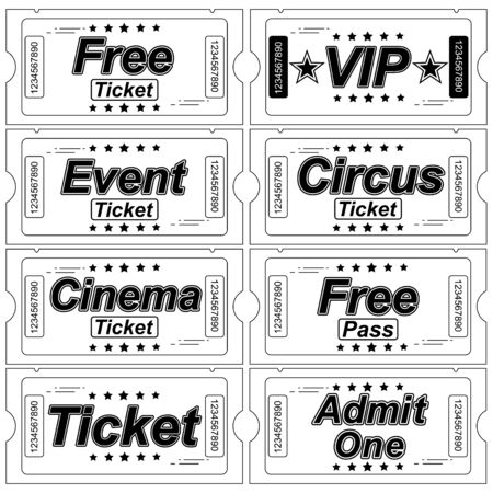 Ticket icon on white background. Vector illustration. Various Objects