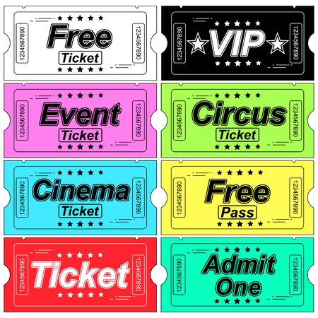 Cinema tickets isolated. Vector illustration. Tickets With Various Objects
